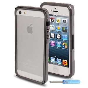 Frame Separable Metal con Dust Plug & mini Screw Kit para iPhone 4S 4 & (Dark Grey)