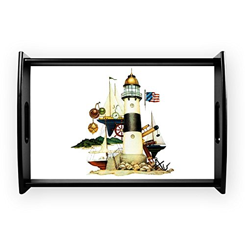 Small Serving Tray Nautical Lighthouse Telescope Anchor ()