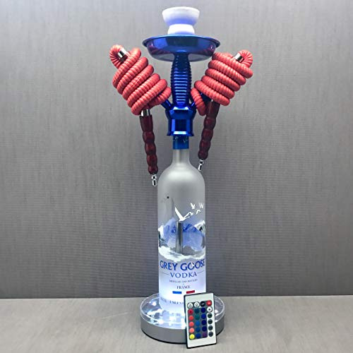 Grey Goose Vodka 1L 2 Hose Bottle Hookah with Color Changing LED Stand and Remote