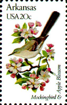 USA 1982 20-Cent Arkansas State Bird & Flower Postage Stamp, Catalog No 1956, Mint