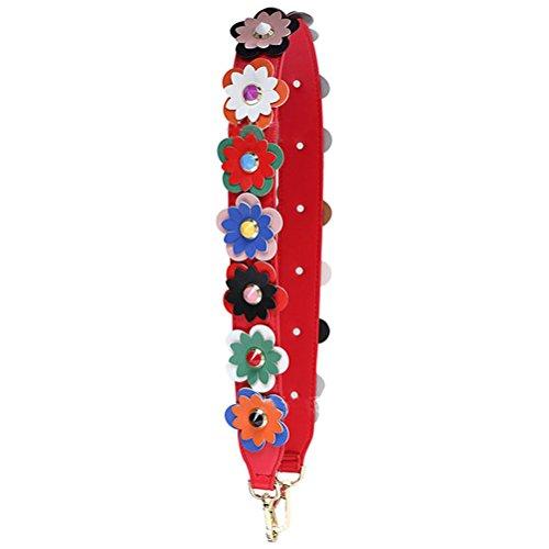 (Donalworld Wide Flower Strap Replacement Rivet PU Leather Handbag Strap S)