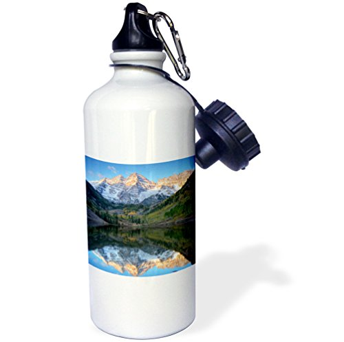 "3dRose wb_88927_1 ""Colorado, Maroon Bells-Snowmass, Maroon Lake US06 JWI0256 Jamie and Judy Wild"" Sports Water Bottle, 21 oz, White"