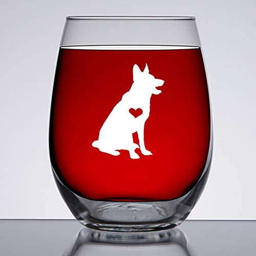 German Shepherd Gifts- 15oz Stemless Wine Glass - Unique Gift Idea For German Shepard Dog Lovers