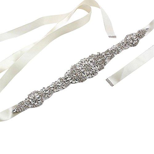 Ivory Silk Bow Sash - 3