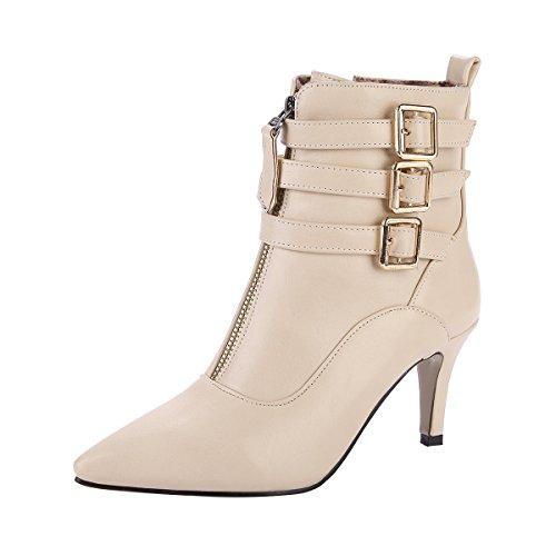 YE Damen Ankle Boots Stiletto High Heels Spitze Stiefeletten mit  Reißverschluss und Schnallen 8cm Absatz Elegant 1fbd8e187a