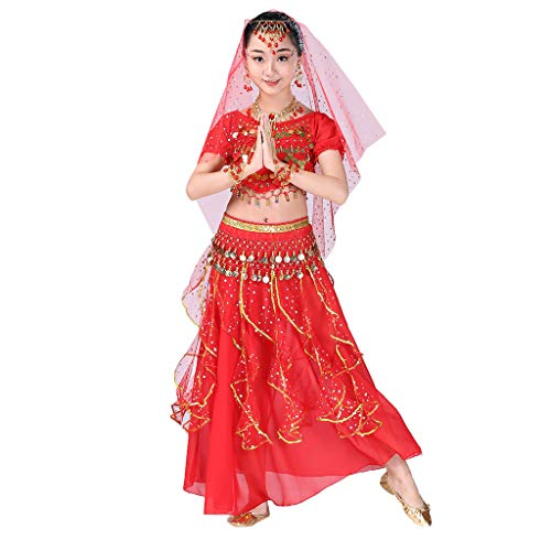 - Girls Halloween Costume Set - Kids Belly Dance Halter Top Dresses with Jewelry Accessory for Dress Up Party