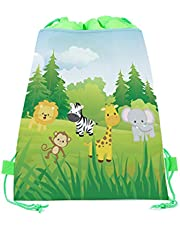 20 Pack Jungle Safari Drawstring Party Bags,Wild Zoo Safari Animal Gift Candy Treat Bags,Jungle Theme Party Favor Bags for Kids Girls Boys Wild One Birthday Party ,Safari Baby Shower Decorations 10.6 x 13.4inches
