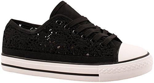 Elara Unisex Sneaker | Bequeme Sportschuhe Für Damen und Herren | Low Top Turnschuh Textil Schuhe 36-46 Schwarz Cut-Out