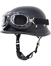 Motorcycle Helmet,Summer Handmade Personality Vintage DOT Approved, German Style Half Helmet Motorcycle Cruiser Scooter with Windproof Glasses Cool Helmet for Men and Women,Matt Black,M