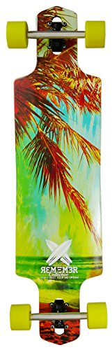 Remember Collective RBD040 Aura Longboard Cruiser Deck, Green/Red