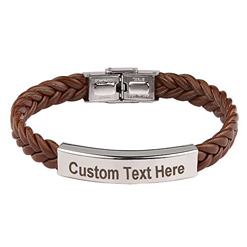 GAGAFEEL Leather Classic Braided Rope Bracelet Custom Engraved Message Stainless Steel Cuff Bangle Gift for Men (Personalized Gifts For Girls)