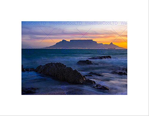 PHOTO COMPOSITION ATMOSPHERIC TABLE MOUNTAIN SOUTH AFRICA FRAMED PRINT - Africa Pictures South