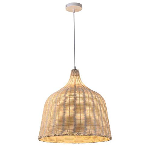Medium Lattice Wicker Rattan Bell Basket Style Ceiling Pendant Light Lampshade Wood Color (Lattice Pendant Light)