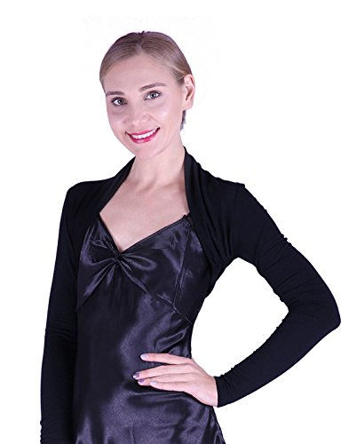 HDE Women's Bolero Long Sleeve Cardigan Shrug (Black, Medium)
