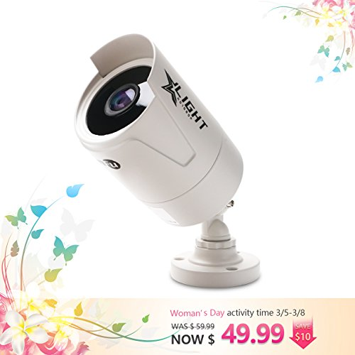 Outdoor 2 Megapixel Bullet Camera with Color Night Vision, Unique Add-On Analog 1080P HD Wired Weatherproof Camera, 3.6mm Lens 103 Degree