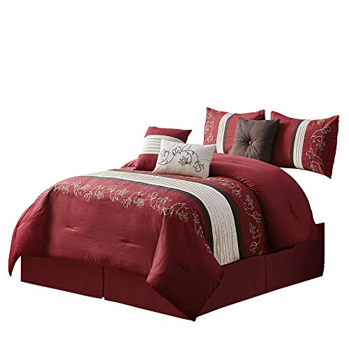 Green Living Group 7-Piece Floral Scroll Embroidery Pleated Stripe Comforter Set (King, (Floral Scroll Stripe)