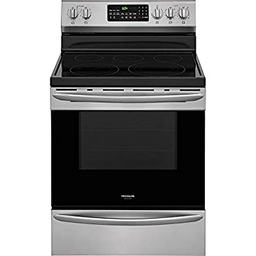 """Frigidaire FGEF3059TF Gallery Series 30"""" Range with 5 Elements, Smoothtop Cooktop, 5.7 cu. ft. Primary Oven Capacity, in Smudge-Proof Stainless Steel"""