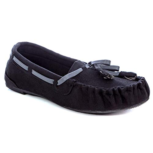 a66ad67bd1d3f Simply Petals Girl s Cute and Comfy Suede Moccasin Slippers in Black Size   13