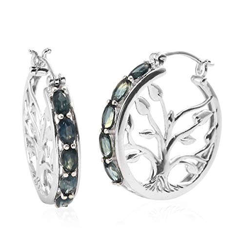 - 925 Sterling Silver Platinum Plated Oval Peacock Sapphire Hoops, Hoop Earrings for Women Cttw 2.5