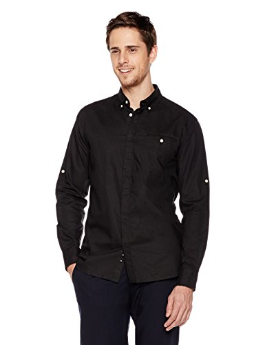 Small Woven Patch (Isle Bay Linens Men's Standard-Fit Long-Sleeve Hidden Placket Woven Shirt Small Black)