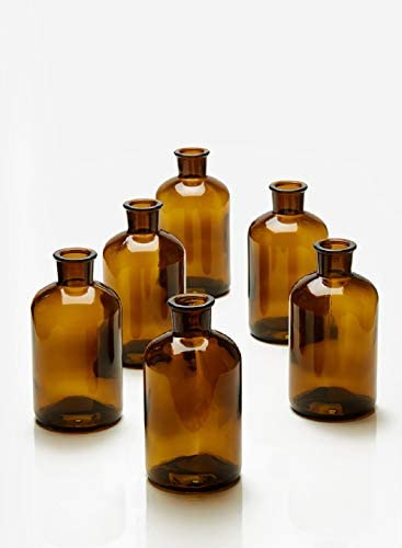 Serene Spaces Living Dark Amber Medicine Bottle Bud Vases, Set of 6, Antique Glass Bottles, 6.25 Tall 3.25 in Diameter