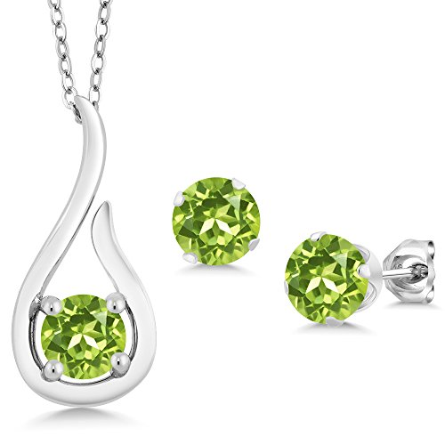 (Gem Stone King 1.80 Ct Round Green Peridot 925 Sterling Silver Pendant Earrings Set With)