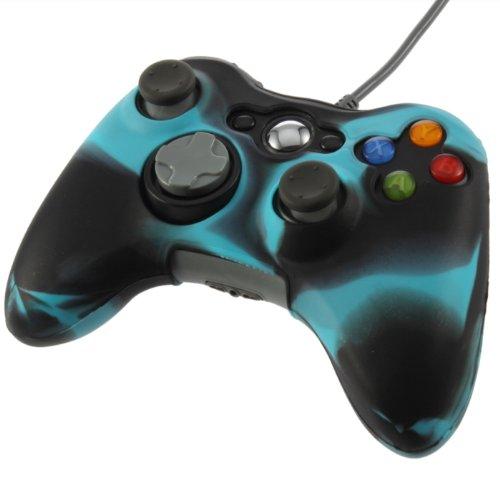 YKS Anti-glare Silicone Skin Case Cover for Xbox 360 Controller(black+blue)