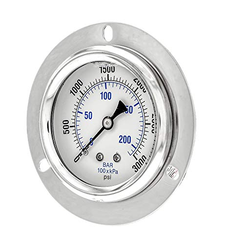 "PIC Gauge PRO-204L-254P Glycerin Filled Industrial Front Flanged Panel Mount Pressure Gauge with Stainless Steel Case, Brass Internals, Plastic Lens, 2-1/2"" Dial Size, 1/4"" Male NPT, 0/3000 psi"
