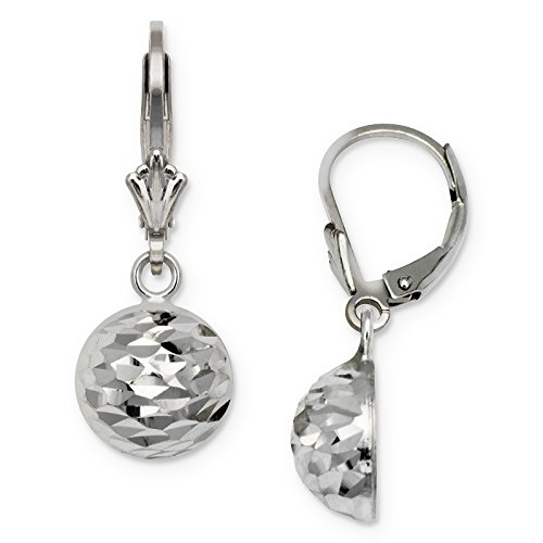 Jewelryweb Sterling Silver Rhodium-plated Sparkle-cut Half-ball Drop Leverback Earrings (10mm x 25mm)