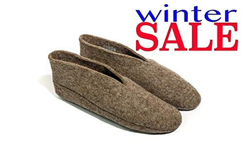 (Women & Men Wool Slippers: Natural Warm and Cozy Felt House & Bedroom Booties WOMENS size 10 )