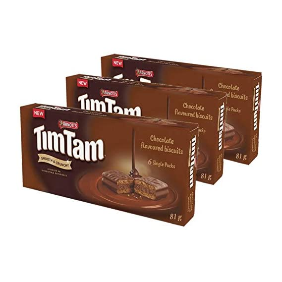 Arnott's Tim Tam Chocolate Coated Biscuits, 3 x 81 g