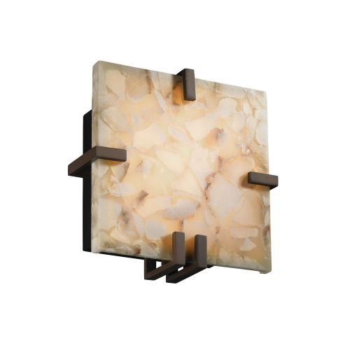 Justice Design Group Lighting ALR5550DBRZ Alabaster Rocks Clips Square Wall Sconce, Dark Bronze (5550 Square Clips)