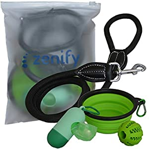 Dog Leash Travel Accessories Set (Lead + Collapsible Water Food Bowl + Training Treat Fetch Ball Toy + Waste Bag… Click on image for further info.