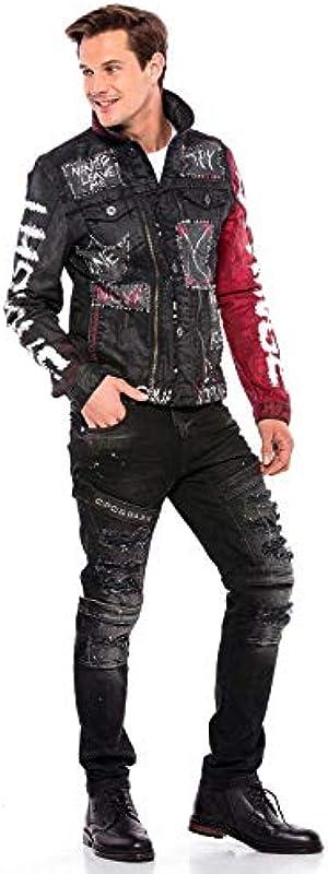Cipo & Baxx Męskie Jeanshose Destroyed Regular Fit Denim Hose Pants Labeldetails Zerrisen Hose Design Jeans Hose Schwarz W36 L34: Odzież