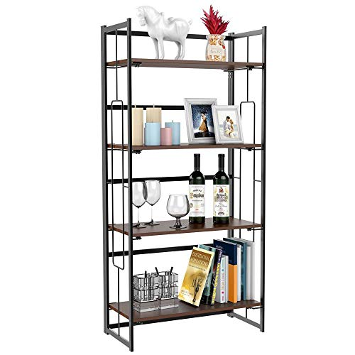 go2buy Folding Bookshelf Rack 4-Tiers Bookcase Home Office Shelf Storage Rack Bookcase Storage Shelves Units Organizer 23.7 x 11.8 x 49.6 Inches
