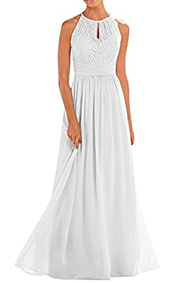 Lafee Bridal Lace Halter Bridesmaid Dress Chiffon A-Line Long Prom Evening Gowns