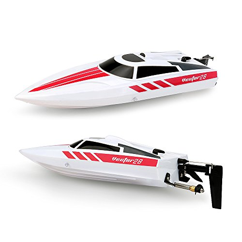 Hobby Toyz Remote Control Boat For Pools  Lakes And Outdoor Adventure   2 4Ghz High Speed 30 Mph Electric Rc Boat  White