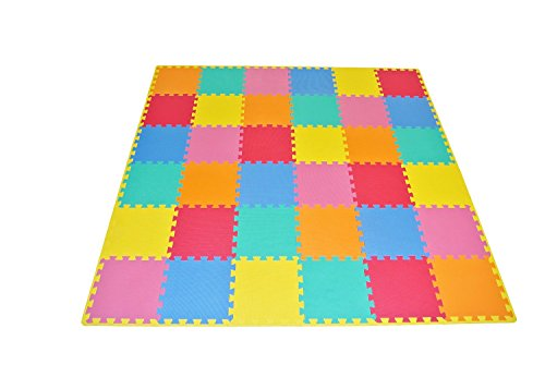 "Soft Foam Floor Mat (ProSource Kids Foam Puzzle Floor Play Mat with Solid Colors, 36 Tiles (12""x12"")  and 24 Borders)"