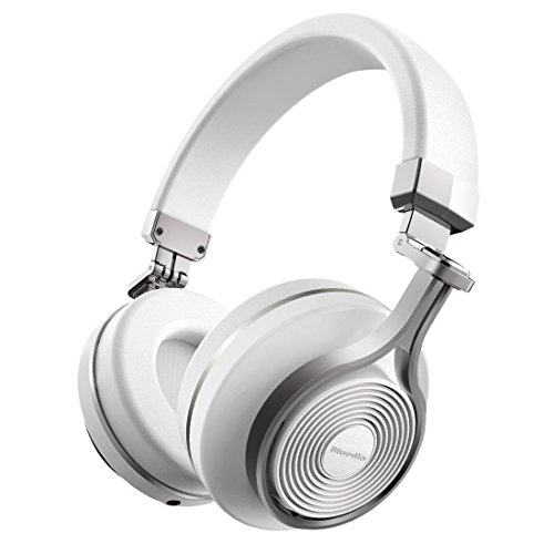 Renewed  Bluedio Turbine T3 Extra Bass 4.1 Stereo Wireless Bluetooth Headphones  White