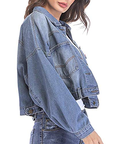 Streetwear Manica Casuale Relaxed Rinalay Autunno Hellblau Jeans Donna Cappotto Primaverile Giacche Giacca Lunga Outwear Corto Elegante PPYxq0z