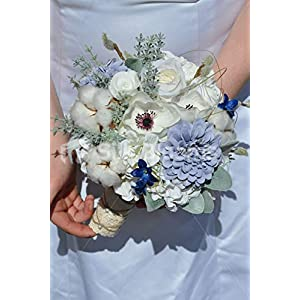 Silk Blooms Ltd Artificial Pale Blue Rose and Real Preserved Cotton Bridesmaid Bouquet w/Anemones and Zinnias 25
