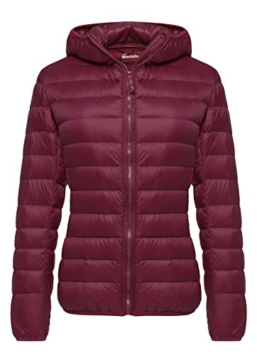 (Wantdo Women's Hooded Packable Ultra Light Weight Down Coat Short Outwear(Wine Red,US Large) )