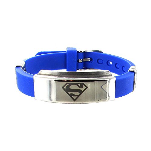Stainless Steel Superman & Blue Rubber Mens Bracelet, Adjustable 6 1/2