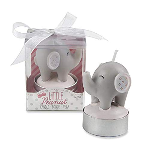60 Kate Aspen Pink Gray Elephant Theme Baby Shower Christening Baptism Baby Girl Little Peanut Elephant Shaped Candle Favors ()