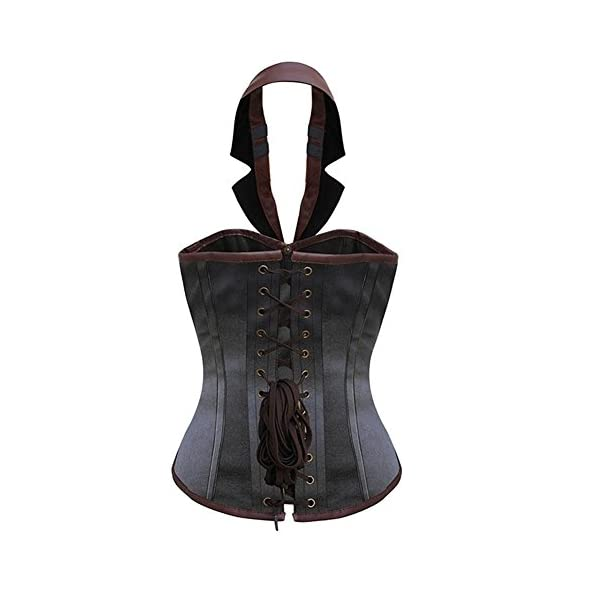 BAIXITE Women's Sexy Steampunk Boned Overbust Halter Corset Top Bustier Plus Sizes 4