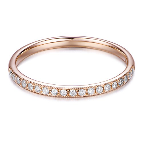 Hafeez Center 14K Solid Gold Diamond Eternity Wedding Band (.13cttw, H-I Color, SI1 Clarity) (Rose-Gold, - 14k Rose Si1 Diamond