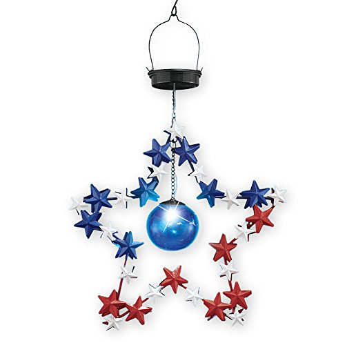 Collections Etc Patriotic Solar Metal Star Tree Dangler Hanging Outdoor Decoration