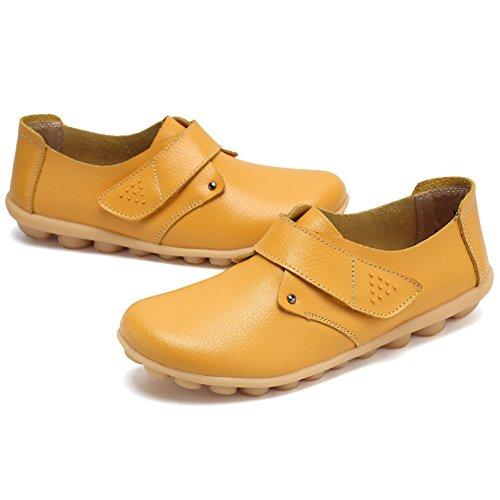 Cior Kvinna Äkta Läder Loafers Tillfällig Moccasin Driv Skor Inomhus Platt Slip-on Tofflor 7.yellow