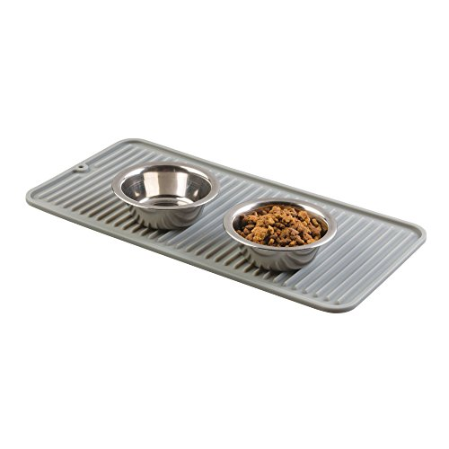 mDesign Premium Quality Pet Food and Water Bowl Feeding Mat for Cats and Kittens - Waterproof Non-Slip Durable Silicone Placemat - Food Safe, Non-Toxic - Pack of 2, Gray by mDesign (Image #2)