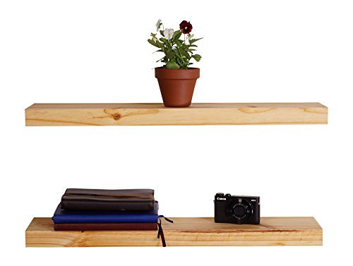 DAKODA LOVE Clean Edge Floating Shelves, USA Handmade, Clear Coat Finish, 100% Countersunk Hidden Floating Shelf Brackets, Beautiful Grain Pine Wood Wall Decor (Set of 2) (24